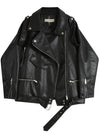 Leather jacket women 2020 fall Motocycle Jacket with Bottom Belt Hot sale