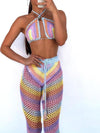 Hand Made Crochet Colorful Cotton Blend 2 Piece Set Women 2021