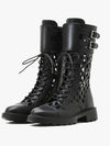 Hollow Martin boots women's spring 2021 new breathable black bukled thin leather ankle boots