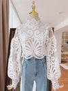 Womens Lace Blouse lantern sleeve stand collar shirt female ASHORESHOP New