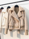 Winter Thicken Warm Faux Sheepskin Suede Coats Womens 2020