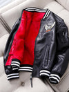 Ashoreshop Womens Winter/Spring Hip Leather baseball contrast fleece lined Jackets