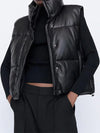 New Autumn Winter Black Warm Faux Leather Vest