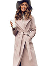 Womens Long Wool Blended Coat with Belt Camel Wool Coat