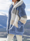2020 Winter Women's Faux Fur Plaid Ladies Clothes Hooded Zipper Ladies Hoody Coat
