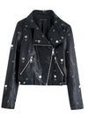 Womens industry eyelet decoration sequin embroidery ladies leather PU leather jacket
