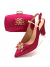 Party Shoes and Bag Matching Sets in Fuchsia Color