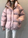 Ashoreshop Womens Winter Down Puffy Coat  Zipper Pocket Warm Loose Coat Overcoat