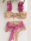 2021 New Push-Up Two Pieces Women Floral Padded Bra Ruffles Bandage Bikini Set