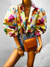 Women Floral Printed Long Sleeve Spring Puff Sleeve Button Down Top Blouse Loose