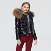 Womens Short Shiny Winter coat Big Fur Hoody Coat Hot sale women winter coat