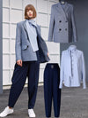 ASHORESHOP Womens Autumn City Commuter Outfits Wool Blended Jacket+Shirt+Pant