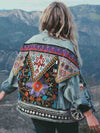ASHORESHOP Ethnic Appliques boho Denim Jacket for Wome