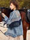 ASHORESHOP Womens Denim Jackets Ethnic Pattern floral Embroidery Suede Fringe Jacket