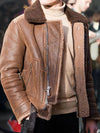 Ashoreshop Shearling mens coat faux lambswool leather jacket
