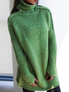 Women Long Long Sweaters High Collar Long Sleeve and Long Body Knitted Sweater