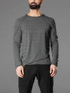 Men's Casual Crew Neck Long Sleeve Melange Knit T-Shirt