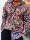 Mens Vacation Shirt Printed Ethnic Pattern Long Sleeve Button Frony Shirt