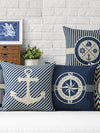 ASHORESHOP Seashore Inspired Ship Anchor Blue Stripe Compass Boat Cushion Cover Cotton Linen Pillow Case Home Sofa Decoter Cojines
