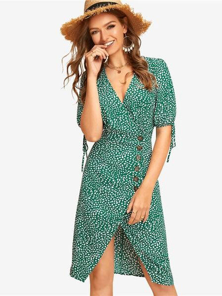 72d082578 Womens Boho Vintage Style Green Dress Knot Cuff Split Hem Vacation Dress