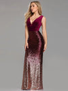 ASHORESHOP Holiday Party Dress New Sexy V-neck Sleeveless Mermaid Burgundy Long Evening Dresses Elegant Abendkleider 2019