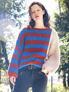 Winter New Fashion Striped Blocking Lazy Oversize Women's Pull Over Sweater