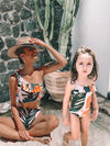 ASHORESHOP Family Matching Vacation look Rainbow Palm swimsuits mother daughter swimwear