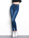 Woman High Elastic plus size Stretch Jeans female washed denim skinny pencil pants 6XL