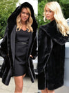 ASHORESHOP Plus Size Women's Loose Faux Fur Coat Long Hooded Black Color Fur Coat