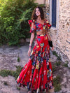 Ashoreshop Women Two Piece Set Summer Red  Maxi Dress Floral Printed