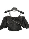 Bow Tie Pearl Black Short Shirts For Women Slash Neck Puff Short Sleeve