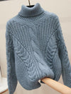 ASHORESHOP Womens Winter Turtle Neck Warm Sweater women loose mohair twist knit sweater thick needle bar pullover