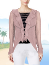 ASHORE RUFFLE AND LACE UP COLLAR CARDIGANS