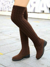 New Arrivals Women Knee High Elastic Slim Knitted Boots