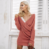 Womens Deep V neck Cross Knitting Sweater Dress