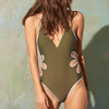 Womens Sexy One Piece Swimsuit High Cut Swimwear Women Flower Cut Out Bathing Suit