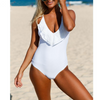 Womens Ruffle One Piece Swimsuit White Lace Cap Sleeve