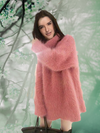 Ashoreshop Oversized Loose Faux Mink Mohair Turtle Neck Pullover Hairy Sweater Dress