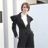 Adventurous Style Black Striped Women's Vintage Famine Blazer Jacket