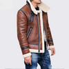 Ashoreshop Mens warm faux leather Shearling Motorcycle jacket Winter outerwear