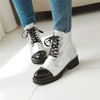 White Gold Silver Lace Up Boots for Women
