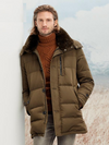 down jacket for men mid-long down coat hooded real natural rabbit fur collar winter thicken