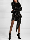Sequin Evening Dress O Neck Long Sleeve Asymmetrical long sleeve  Mini Dresses