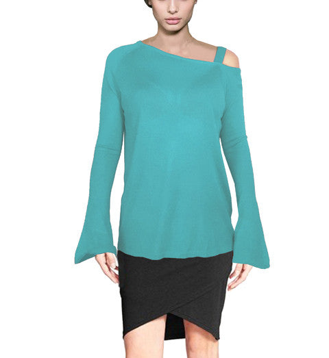 Womens Asymmetric Fall Off Shoulder Fine Sweater