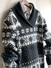 Nordic luxury Wool  Sweater Shawl Collar Mens Thick Sweater