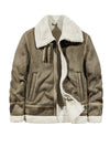 men's jacket lamb Suede thick leather coat lapel cotton-padded jacket