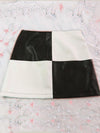 Vintage PU Leather Mini Skirts Patchwork Black and White A-line Short Skirt