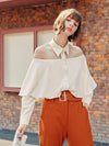 Spring new 2021 long-sleeved ruffled drape one-line collar off-shoulder shirt