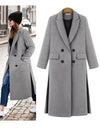 Women Autumn Double Breasted Outerwear Long Winter Wool Coat
