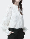 Office Lady White Lace Blouse Vintage Style Pearl Buttons and Low Stand Collar